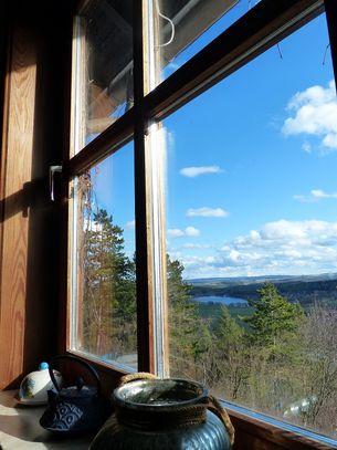 Blick aus dem Fenster auf den Stausee Hohenfelden